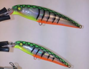 Fire Glass Tiger With Fiber-Eyes Rapala X-Rap 2
